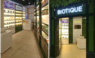 Interior and Facade view of Biotique Botanicals Store