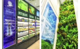 Product Display and Green Feature Wall