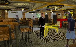 Proposed view of the Rustic Cafe' Interiors at upper level with live DJ Area