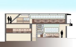 Conceptual Section for the Cafe'