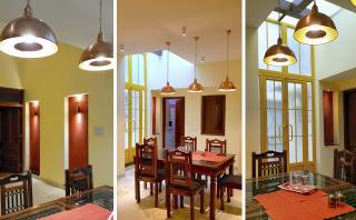 Underutilized rear section was renovated into dining area with skylight