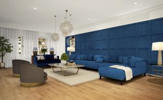 Artistic Impression of the Living Area in the hues of Blue colour