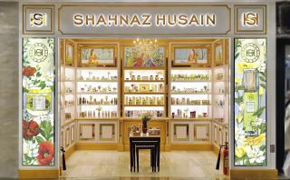 Shahnaz Husain Store facade with hand-painted artworks and refreshed logo