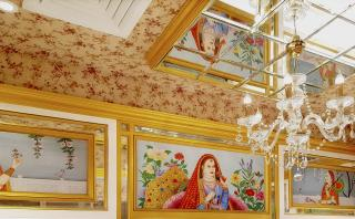 Decorative ceiling with customized hand-painted artworks