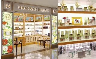 Shahnaz Husain Store facade with hand-painted artworks and customised Visual Merchandise