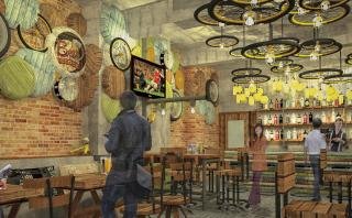 Artistic Impression for the Rustic Bar Interiors with quirky customised elements
